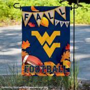 West Virginia Fall Football Autumn Leaves Decorative Garden Flag
