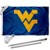 West Virginia Mountaineers Blue Flag Pole and Bracket Kit