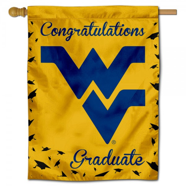 West Virginia Mountaineers Congratulations Graduate Flag measures 30x40 inches, is made of poly, has a top hanging sleeve, and offers dye sublimated West Virginia Mountaineers logos. This Decorative West Virginia Mountaineers Congratulations Graduate House Flag is officially licensed by the NCAA.