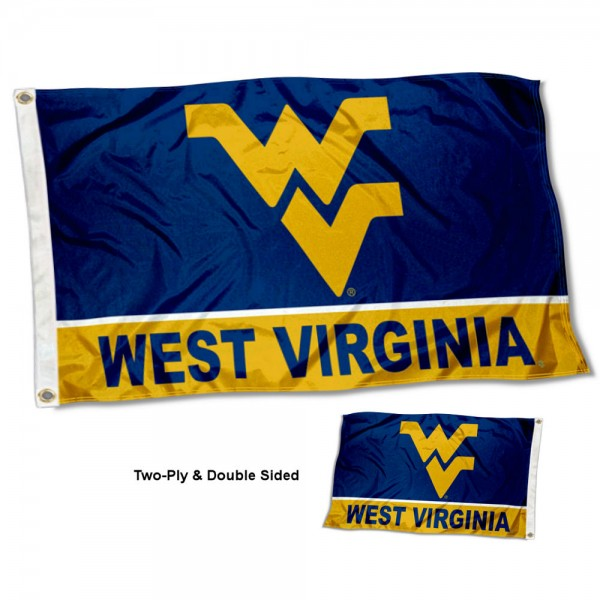 West Virginia Mountaineers Double Sided Flag measures 3'x5', is made of 2 layer 100% polyester, has quadruple stitched flyends for durability, and is readable correctly on both sides. Our West Virginia Mountaineers Double Sided Flag is officially licensed by the university, school, and the NCAA.