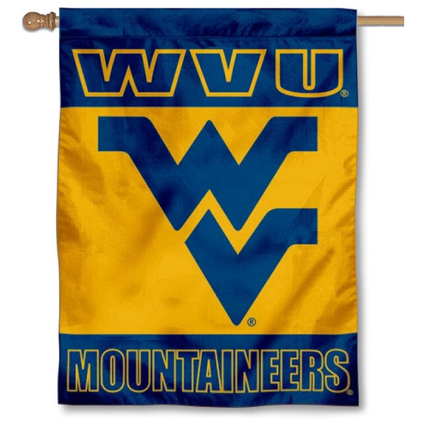 West Virginia Mountaineers Double Sided House Flag is a vertical house flag which measures 30x40 inches, is made of 2 ply 100% polyester, offers screen printed NCAA team insignias, and has a top pole sleeve to hang vertically. Our West Virginia Mountaineers Double Sided House Flag is officially licensed by the selected university and the NCAA.
