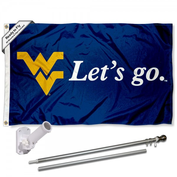 Our West Virginia Mountaineers Flag Pole and Bracket Kit includes the flag as shown and the recommended flagpole and flag bracket. The flag is made of polyester, has quad-stitched flyends, and the NCAA Licensed team logos are double sided screen printed. The flagpole and bracket are made of rust proof aluminum and includes all hardware so this kit is ready to install and fly.