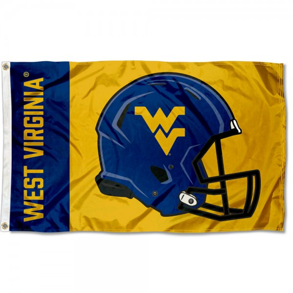 West Virginia Mountaineers Football Helmet Flag measures 3x5 feet, is made of 100% polyester, offers quadruple stitched flyends, has two metal grommets, and offers screen printed NCAA team logos and insignias. Our West Virginia Mountaineers Football Helmet Flag is officially licensed by the selected university and NCAA.