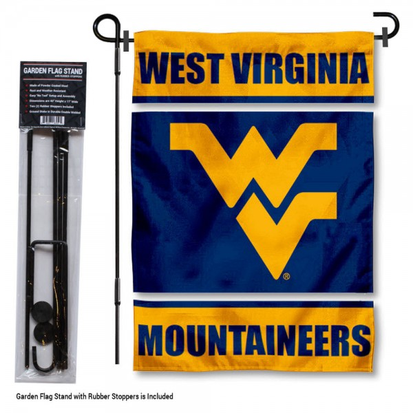 "West Virginia Mountaineers Garden Flag and Stand kit includes our 13""x18"" garden banner which is made of 2 ply poly with liner and has screen printed licensed logos. Also, a 40""x17"" inch garden flag stand is included so your West Virginia Mountaineers Garden Flag and Stand is ready to be displayed with no tools needed for setup. Fast Overnight Shipping is offered and the flag is Officially Licensed and Approved by the selected team."