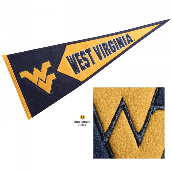 West Virginia Mountaineers Genuine Wool Pennant consists of our full size 13x32 inch Winning Streak Sports wool college pennant. The logos, lettering and insignia is quality embroidered and appliqued, feature a alternate logo color header, and has sewn wool perimeter. This West Virginia Mountaineers College Pennant Pennant is Officially Licensed and University Approved with Overnight Next Day Shipping.