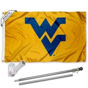 West Virginia Mountaineers Gold Flag Pole and Bracket Kit