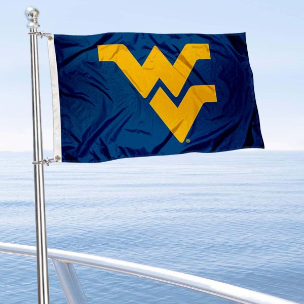 West Virginia Mountaineers Golf Cart Flag is a small 12x18 inches, made of 2-ply polyester with quad stitched flyends, and is double-sided. Our Golf Cart Logo Flags are Officially Licensed and Approved by West Virginia University and NCAA.