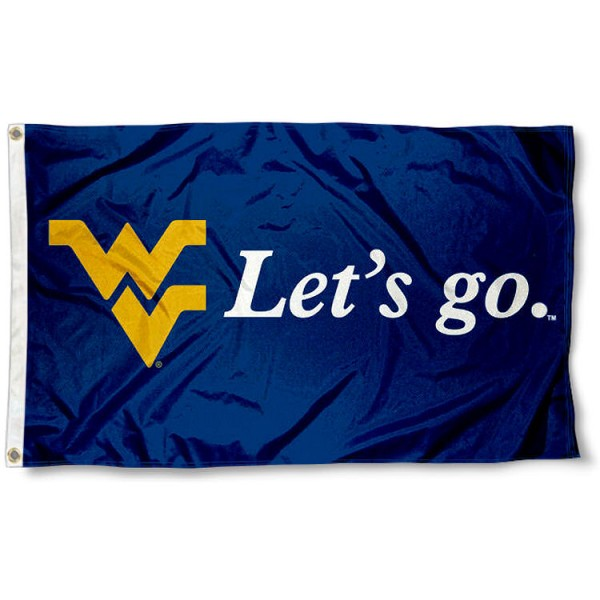West Virginia Mountaineers Let's Go Flag measures 3x5 feet, is made of 100% polyester, offers quadruple stitched flyends, has two metal grommets, and offers screen printed NCAA team logos and insignias. Our West Virginia Mountaineers Let's Go Flag is officially licensed by the selected university and NCAA.