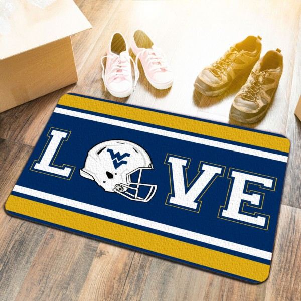 West Virginia Mountaineers LOVE Garage Man Cave Utility Doormat measures 17x25 inches rectangular, is made of polyester felt blends, has a durable non-slip rubber backing, and is UV, mildew, and stain resistant. Each college doormat includes Officially Licensed Logos and Insignias.