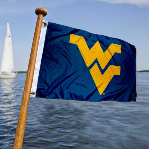 West Virginia Mountaineers Nautical Flag measures 12x18 inches, is made of two-ply polyesters, offers quadruple stitched flyends for durability, has two metal grommets, and is viewable from both sides. Our West Virginia Mountaineers Nautical Flag is officially licensed by the selected university and the NCAA and can be used as a motorcycle flag, golf cart flag, or ATV flag