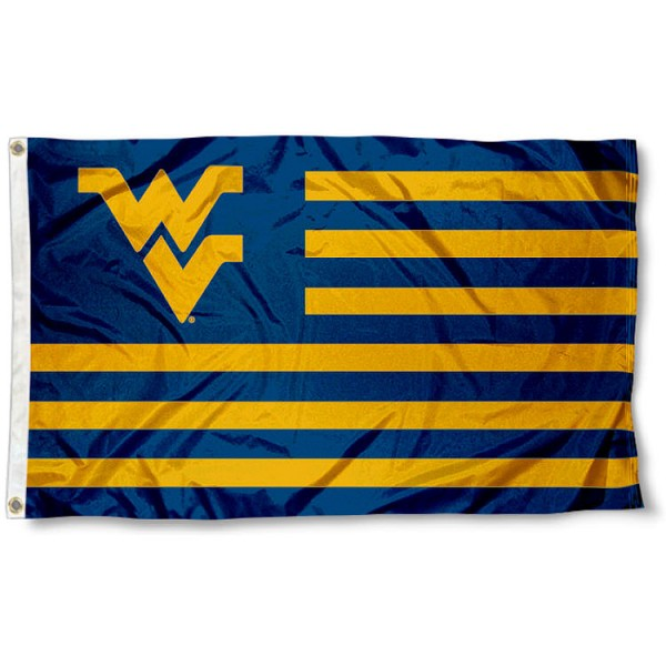 West Virginia Mountaineers Striped Flag is made of poly, measures 3x5 feet, has quadruple-stitched fly ends, and the colored stripes are printed into the West Virginia Mountaineers Striped Flag. The West Virginia Mountaineers Striped Flag is approved by the NCAA and the university.