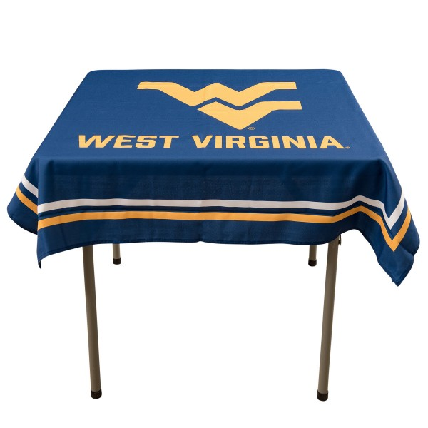 West Virginia Mountaineers Table Cloth measures 48 x 48 inches, is made of 100% Polyester, seamless one-piece construction, and is perfect for any tailgating table, card table, or wedding table overlay. Each includes Officially Licensed Logos and Insignias.