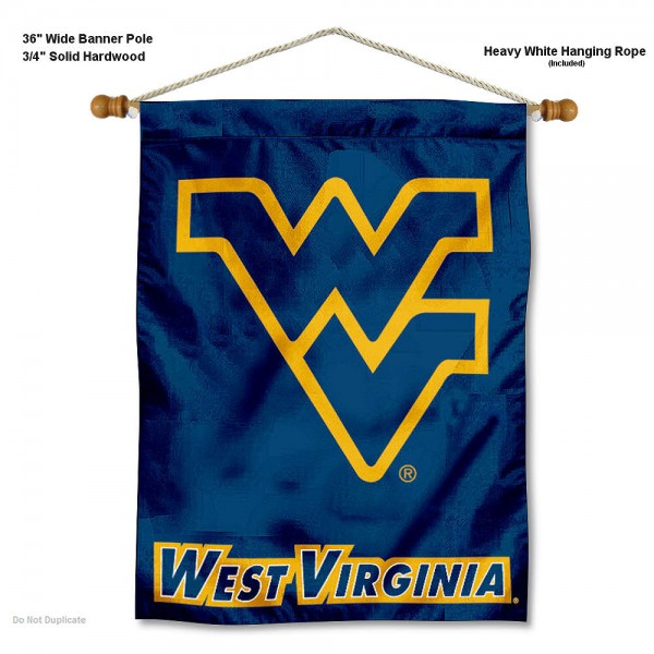 "West Virginia Mountaineers Wall Banner is constructed of polyester material, measures a large 30""x40"", offers screen printed athletic logos, and includes a sturdy 3/4"" diameter and 36"" wide banner pole and hanging cord. Our West Virginia Mountaineers Wall Banner is Officially Licensed by the selected college and NCAA."