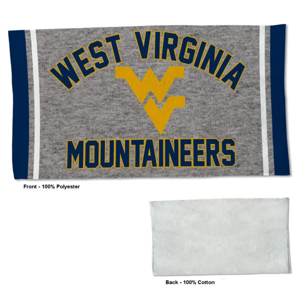 West Virginia Mountaineers Workout Exercise Towel measures 22x42 inches, is made of 100% Polyester on the front and 100% Cotton on the back, has double stitched sewing perimeter, and Graphics and Logos, as shown. Our West Virginia Mountaineers Workout Exercise Towel is officially licensed by the selected university and the NCAA. Also, machine washable and dryer safe.