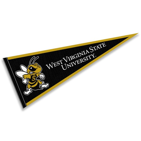West Virginia State University Yellow Jackets Pennant consists of our full size sports pennant which measures 12x30 inches, is constructed of felt, is single sided imprinted, and offers a pennant sleeve for insertion of a pennant stick, if desired. This West Virginia State University Yellow Jackets Pennant Decorations is Officially Licensed by the selected university and the NCAA.