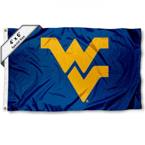 West Virginia University 4x6 Flag measures 4x6 feet, is made thick woven polyester, has quadruple stitched flyends, two metal grommets, and offers screen printed NCAA West Virginia University athletic logos and insignias. Our West Virginia University 4x6 Flag is officially licensed by West Virginia University and the NCAA.