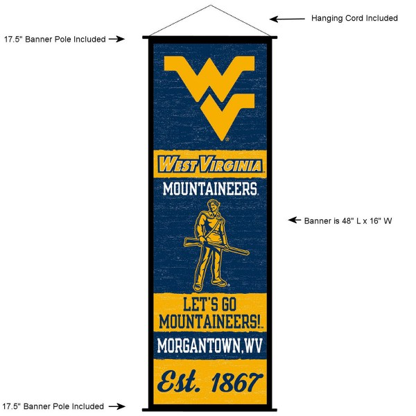 "This ""ready to hang"" West Virginia University Decor and Banner is made of polyester material, measures a large 17.5"" x 48"", offers screen printed athletic logos, and includes both top and bottom 3/4"" diameter plastic banner poles and hanging cord. Our West Virginia University D�cor and Banner is Officially Licensed by the selected college and NCAA."