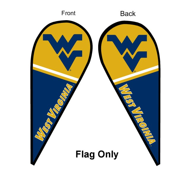 West Virginia University Feather Flag is 9 feet by 3 feet and is a tall 10' when fully assembled. The feather flag is made of thick polyester and is readable and viewable on both sides. The screen printed West Virginia Mountaineers double sided logos are NCAA Officially Licensed and is Team and University approved.