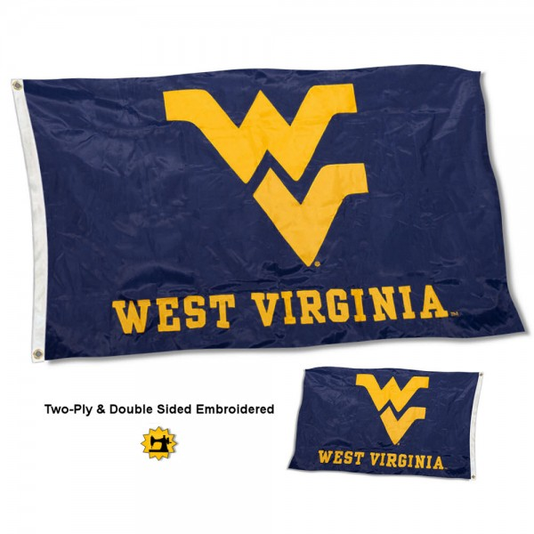 West Virginia University Flag measures 3'x5' in size, embroidered, is made of 2 layer 100% nylon, has quadruple stitched fly ends for durability, and is viewable and readable correctly on both sides. Our West Virginia University Flag is officially licensed by the university, school, and the NCAA