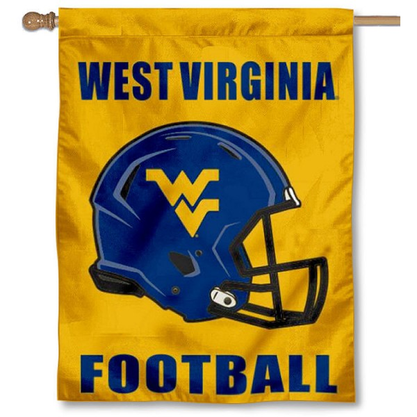 West Virginia University Helmet House Flag is a vertical house flag which measures 30x40 inches, is made of 100% double layer polyester, offers screen printed college team insignias, and has a top pole sleeve to hang vertically. Our West Virginia University Helmet House Flag is officially licensed by the selected university and the NCAA