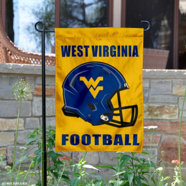 West Virginia University Football Helmet Garden Banner is 13x18 inches in size, is made of 2-layer polyester, screen printed West Virginia Mountaineers athletic logos and lettering. Available with Same Day Express Shipping, Our West Virginia University Football Helmet Garden Banner is officially licensed and approved by West Virginia Mountaineers and the NCAA.
