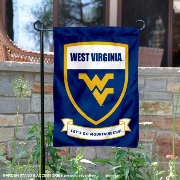 West Virginia University Lets Go Mountaineers Shield Garden Flag is 13x18 inches in size, is made of 2-layer polyester, screen printed university athletic logos and lettering, and is readable and viewable correctly on both sides. Available same day shipping, our West Virginia University Lets Go Mountaineers Shield Garden Flag is officially licensed and approved by the university and the NCAA.