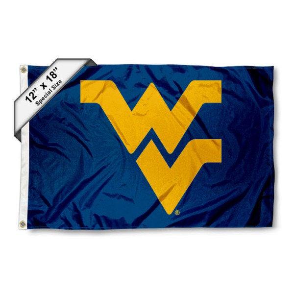 West Virginia University Mini Flag is 12x18 inches, polyester, offers quadruple stitched flyends for durability, has two metal grommets, and is double sided. Our mini flags for West Virginia University are licensed by the university and NCAA and can be used as a boat flag, motorcycle flag, golf cart flag, or ATV flag