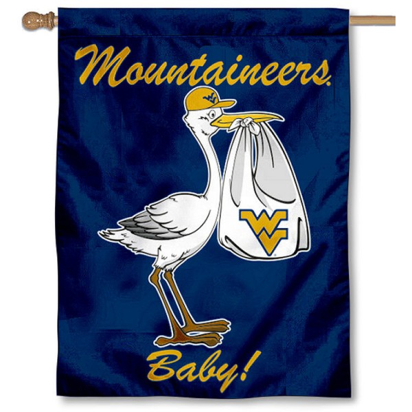West Virginia University New Baby Flag measures 30x40 inches, is made of poly, has a top hanging sleeve, and offers dye sublimated Mountaineers logos. This Decorative West Virginia University New Baby House Flag is officially licensed by the NCAA.