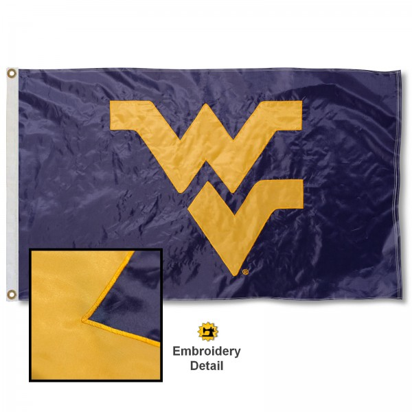 West Virginia University Nylon Embroidered Flag measures 3'x5', is made of 100% nylon, has quadruple flyends, two metal grommets, and has double sided appliqued and embroidered University logos. These West Virginia University 3x5 Flags are officially licensed by the selected university and the NCAA.