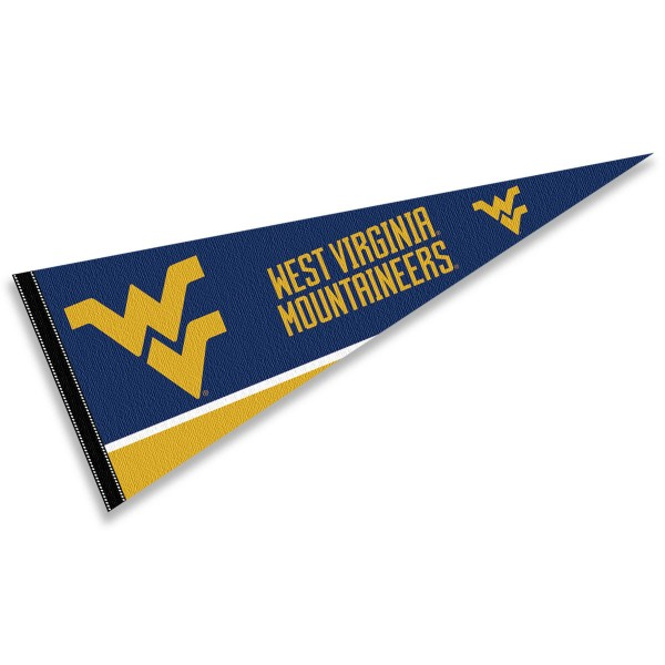West Virginia University Pennant consists of our full size sports pennant which measures 12x30 inches, is constructed of felt, is single sided imprinted, and offers a pennant sleeve for insertion of a pennant stick, if desired. This Mountaineers Pennant Decorations is Officially Licensed by the selected university and the NCAA.