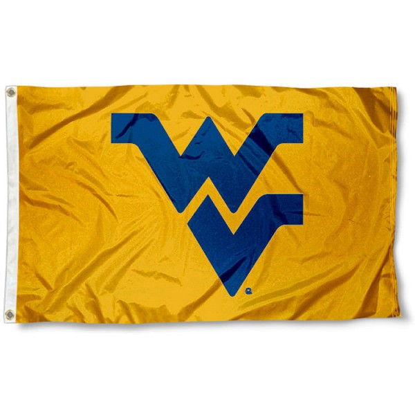 West Virginia University Polyester Flag measures 3'x5', is made of 100% poly, has quadruple stitched sewing, two metal grommets, and has double sided West Virginia University logos. Our West Virginia University Polyester Flag is officially licensed by the selected university and the NCAA