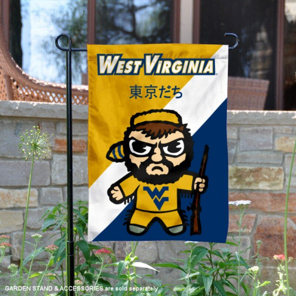 West Virginia University Tokyodachi Mascot Yard Flag is 13x18 inches in size, is made of double layer polyester, screen printed university athletic logos and lettering, and is readable and viewable correctly on both sides. Available same day shipping, our West Virginia University Tokyodachi Mascot Yard Flag is officially licensed and approved by the university and the NCAA.