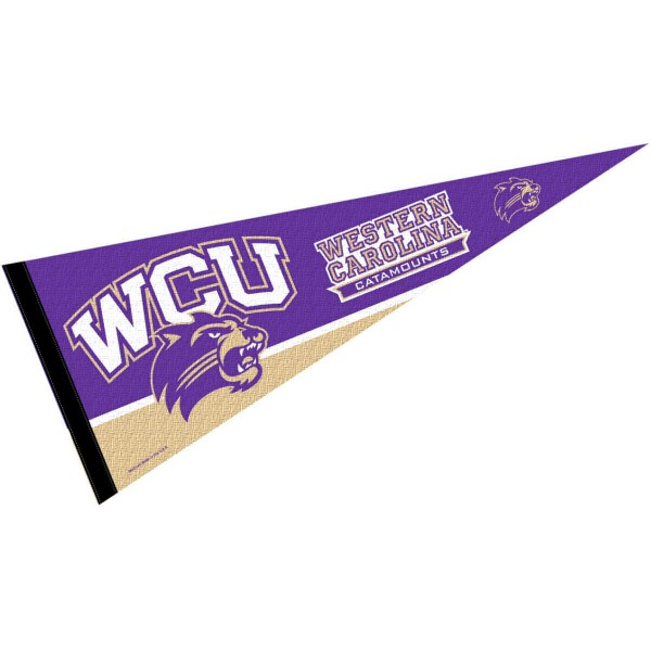 Western Carolina University Felt Pennant consists of our full size pennant which measures 12x30 inches, is constructed of felt, is single sided imprinted, and offers a pennant sleeve for insertion of a pennant stick, if desired. This Western Carolina University Felt Pennant is officially licensed by the selected university and the NCAA.