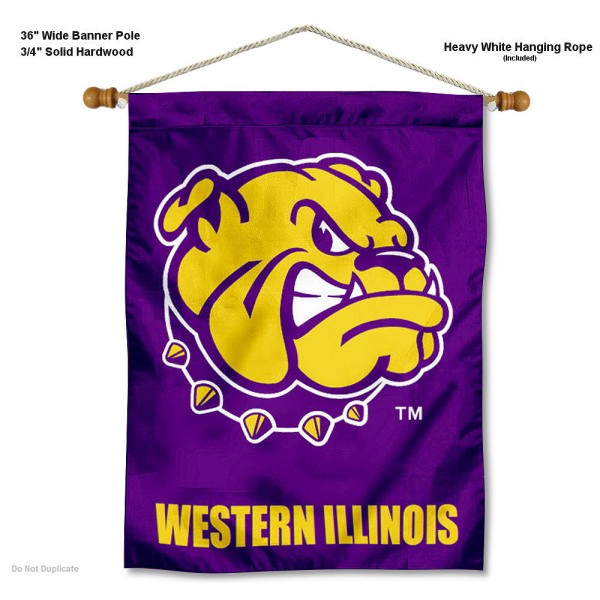 "Western Illinois Leathernecks Wall Banner is constructed of polyester material, measures a large 30""x40"", offers screen printed athletic logos, and includes a sturdy 3/4"" diameter and 36"" wide banner pole and hanging cord. Our Western Illinois Leathernecks Wall Banner is Officially Licensed by the selected college and NCAA."