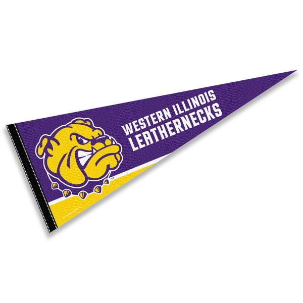 Western Illinois University Decorations consists of our full size pennant which measures 12x30 inches, is constructed of felt, is single sided imprinted, and offers a pennant sleeve for insertion of a pennant stick, if desired. This Western Illinois University Decorations is officially licensed by the selected university and the NCAA.