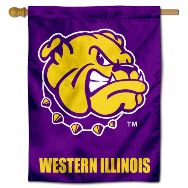 "Western Illinois University House Flag is constructed of polyester material, is a vertical house flag, measures 30""x40"", offers screen printed athletic insignias, and has a top pole sleeve to hang vertically. Our Western Illinois University House Flag is Officially Licensed by Western Illinois University and NCAA."