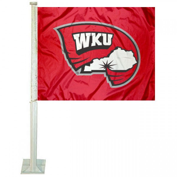 Western Kentucky Hilltoppers Car Window Flag measures 12x15 inches, is constructed of sturdy 2 ply polyester, and has dye sublimated school logos which are readable and viewable correctly on both sides. Western Kentucky Hilltoppers Car Window Flag is officially licensed by the NCAA and selected university.