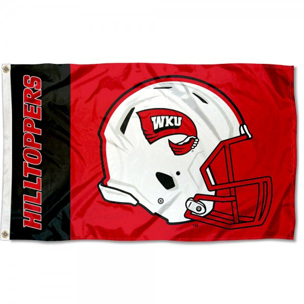 Western Kentucky Hilltoppers Football Helmet Flag measures 3x5 feet, is made of 100% polyester, offers quadruple stitched flyends, has two metal grommets, and offers screen printed NCAA team logos and insignias. Our Western Kentucky Hilltoppers Football Helmet Flag is officially licensed by the selected university and NCAA.