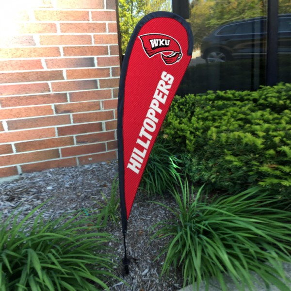 Western Kentucky Hilltoppers Small Feather Flag measures a 4' tall when fully assembled and roughly 1' wide. The kit includes a Feather Flag, 2 Piece Fiberglass Pole, pole connector, and matching Ground Stake. Our Western Kentucky Hilltoppers Small Feather Flag easily assembles and is NCAA Officially Licensed by the selected school or university.