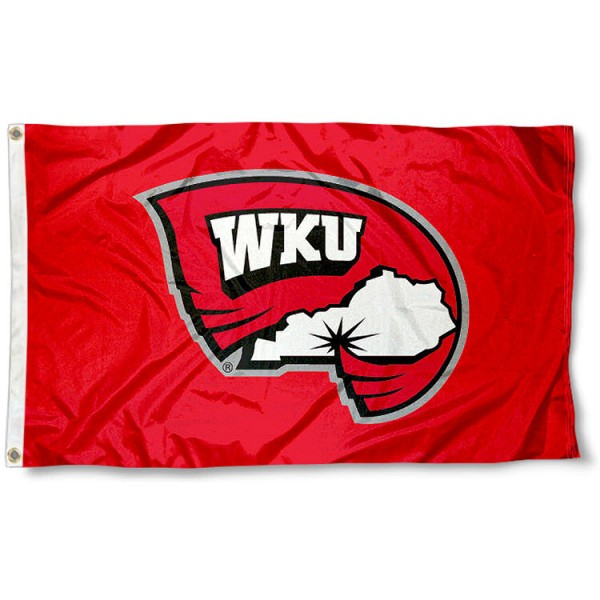 Western Kentucky University Polyester Flag measures 3'x5', is made of 100% poly, has quadruple stitched sewing, two metal grommets, and has double sided Western Kentucky University logos. Our Western Kentucky University Polyester Flag is officially licensed by the selected university and the NCAA