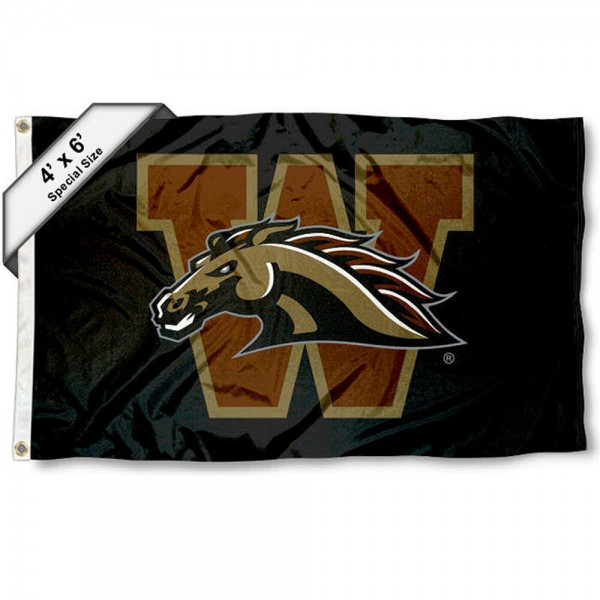 Western Michigan Broncos Large 4x6 Flag measures 4x6 feet, is made thick woven polyester, has quadruple stitched flyends, two metal grommets, and offers screen printed NCAA Western Michigan Broncos Large athletic logos and insignias. Our Western Michigan Broncos Large 4x6 Flag is officially licensed by Western Michigan Broncos and the NCAA.