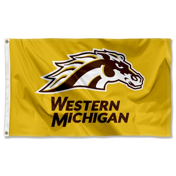 Western Michigan Broncos New Gold Logo Flag measures 3x5 feet, is made of 100% polyester, offers quadruple stitched flyends, has two metal grommets, and offers screen printed NCAA team logos and insignias. Our Western Michigan Broncos New Gold Logo Flag is officially licensed by the selected university and NCAA.