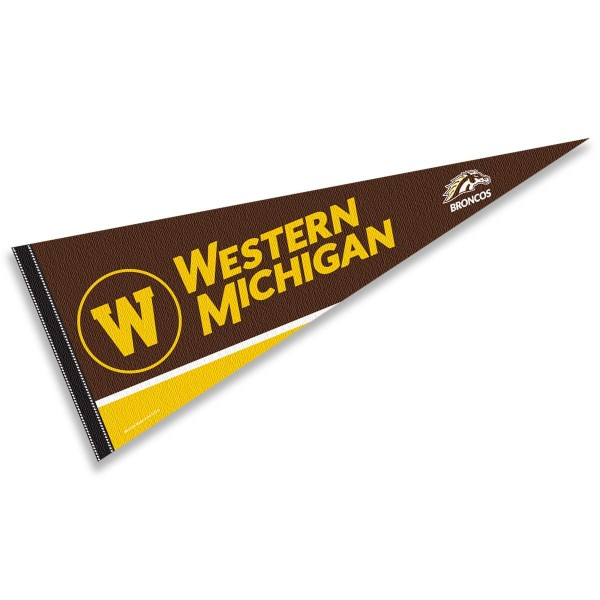Western Michigan Broncos Pennant measures a full size 12x30 inches, is constructed of felt, is single sided imprinted, and offers a pennant sleeve for insertion of a pennant stick, if desired. This Western Michigan Broncos Pennant is officially licensed by the selected university and the NCAA.