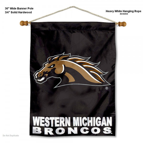 """Western Michigan Broncos Wall Banner is constructed of polyester material, measures a large 30""""x40"""", offers screen printed athletic logos, and includes a sturdy 3/4"""" diameter and 36"""" wide banner pole and hanging cord. Our Western Michigan Broncos Wall Banner is Officially Licensed by the selected college and NCAA."""