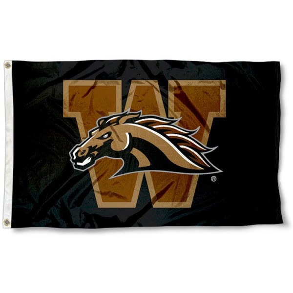 Western Michigan University Broncos 3x5 Flag measures 3'x5', is made of 100% poly, has quadruple stitched sewing, two metal grommets, and has double sided Team University logos. Our Western Michigan University Broncos 3x5 Flag is officially licensed by the selected university and the NCAA.