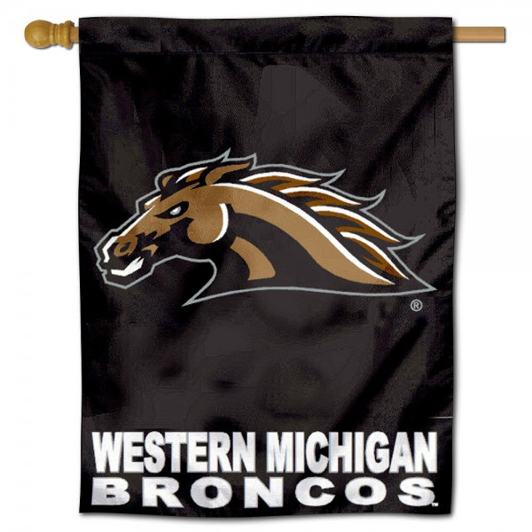 "Western Michigan University Broncos House Flag is constructed of polyester material, is a vertical house flag, measures 30""x40"", offers screen printed athletic insignias, and has a top pole sleeve to hang vertically. Our Western Michigan University Broncos House Flag is Officially Licensed by Western Michigan University Broncos and NCAA."