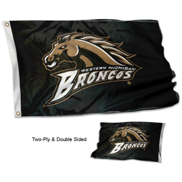 Western Michigan University Flag measures 3'x5', is made of 2 layer 100% polyester, has quadruple stitched flyends for durability, and is readable correctly on both sides. Our Western Michigan University Flag is officially licensed by the university, school, and the NCAA