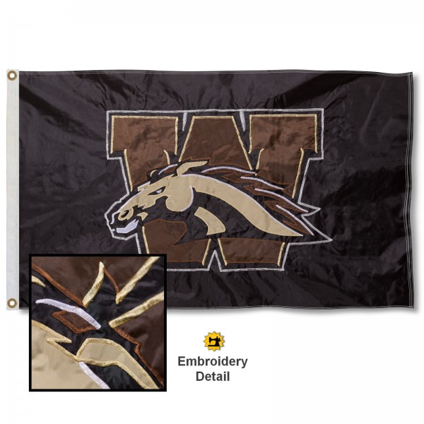 Western Michigan University Nylon Embroidered Flag measures 3'x5', is made of 100% nylon, has quadruple flyends, two metal grommets, and has double sided appliqued and embroidered University logos. These Western Michigan University 3x5 Flags are officially licensed by the selected university and the NCAA.