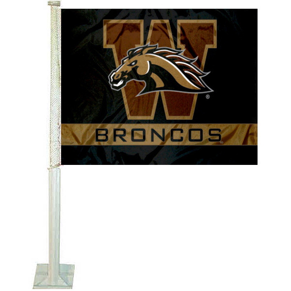Western Michigan University WMU Car Flag measures 12x15 inches, is constructed of sturdy 2 ply polyester, and has dye sublimated school logos which are readable and viewable correctly on both sides. Western Michigan University WMU Car Flag is officially licensed by the NCAA and selected university.