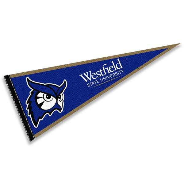 Westfield State Owls Pennant consists of our full size sports pennant which measures 12x30 inches, is constructed of felt, is single sided imprinted, and offers a pennant sleeve for insertion of a pennant stick, if desired. This Westfield State Owls Pennant Decorations is Officially Licensed by the selected university and the NCAA.